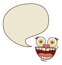 Face cartoon gesture with dialog big callout box vector