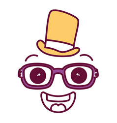 Face kawaii with glasses and hat character vector