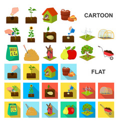 farm and agriculture cartoon icons in set vector image