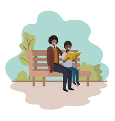 father and son sitting in park chair avatar vector image