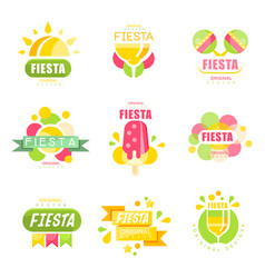 Fiesta logo set labels for a holiday colorful vector