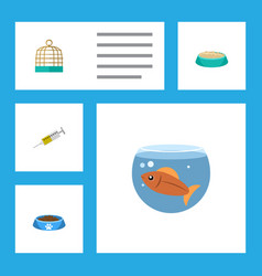 Flat icon animal set of fishbowl cat eatin vector