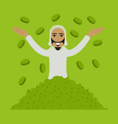 Flat icon on theme arabic business muslim in coins vector
