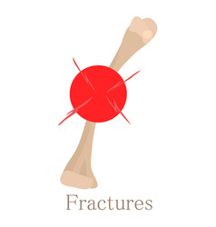 fracture bone icon cartoon style vector image
