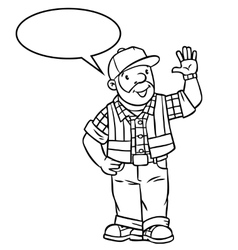 Funny driver or worker with balloon for text vector