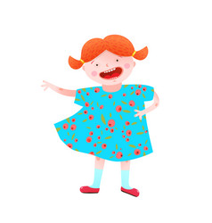 funny happy little girl red head character vector image