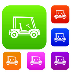 golf club vehicle set color collection vector image