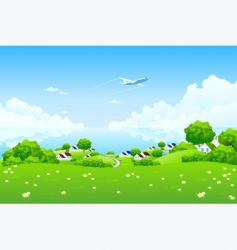 Green landscape with aircraft vector