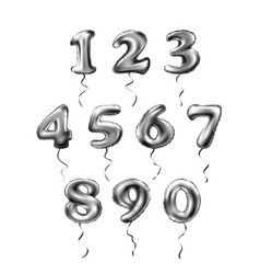 Grey number 1 2 3 4 5 6 7 8 9 0 metallic balloon vector