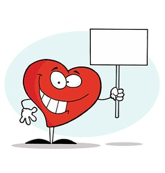 Grinning Heart Holding A Blank White Sign vector image