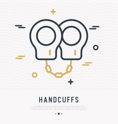 handcuffs thin line icon vector image