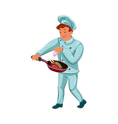 Happy chef-cook man holding skillet with vector