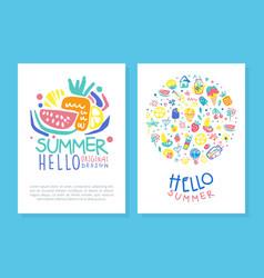 hello summer original design card template vector image