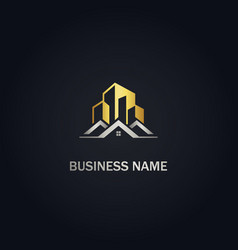 Home modern building company gold logo vector