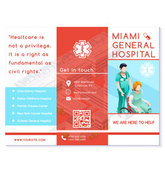 Hospital trifold brochure medical clinic eps10 vector
