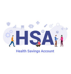 Hsa health savings account concept with big word vector