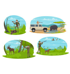 hunter aiming rifle at animal cartoon icon design vector image