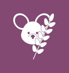 Icon koala and plant vector