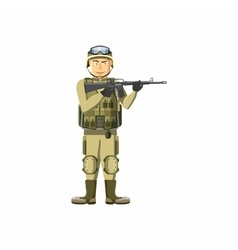 Infantryman with weapons icon cartoon style vector image