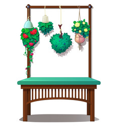 Interior decor with hanging plants and flowers vector