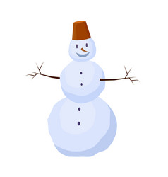 isolated snowman with bucket on head winter vector image