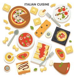 italian cuisine collection traditional dishes vector image