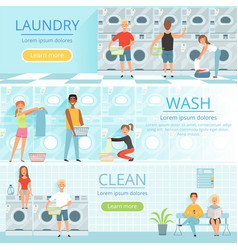 Laundry service banners design with washing vector