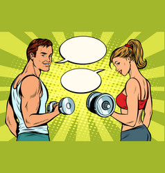 man and woman in gym with dumbbells vector image
