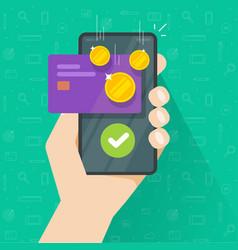 mobile phone with money bonus reward cellphone vector image