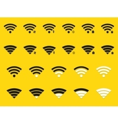 modern wifi icons set on yellow vector image