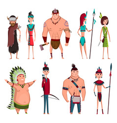 Native american tribe members in traditional vector