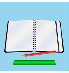 notebook red pencil ruler vector image