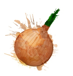onion made colorful splashes vector image