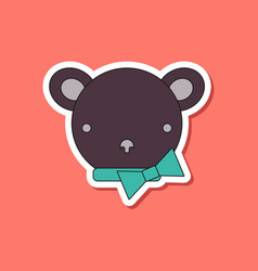 paper sticker on stylish background kids toy bear vector image