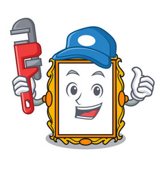 Plumber picture frame mascot cartoon vector