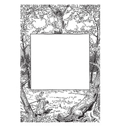 Rabbit and wolf frame shows a story scene some vector