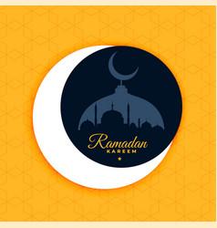 Ramadan kareem poster design in flat color style vector