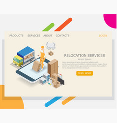 Relocation service website landing page vector