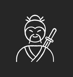 samurai chalk white icon on black background vector image