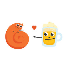 Sausage and glass of beer vector