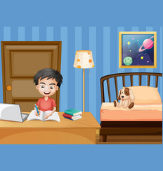 Scene with boy writing in bedroom vector