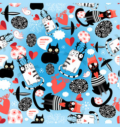 seamless bright pattern loving cats with hearts vector image