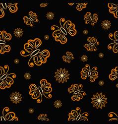 Seamless golden butterfly randomly pattern vector