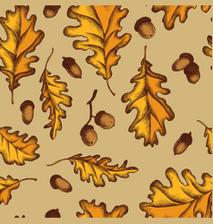 seamless pattern of oak leaves and acorns vector image