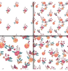Seamless Vintage Wildflowers Pattern Set vector