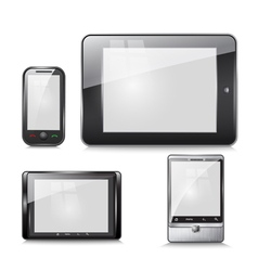 Set electronic devices tablet and mobile phone vector