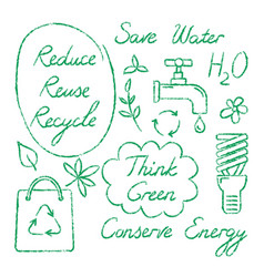 set hand drawn ecology symbols and lettering vector image
