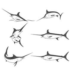 set monochrome marlins vector image