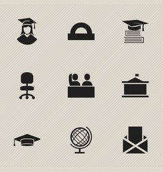 Set of 9 editable school icons includes symbols vector