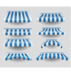Set of blue awnings vector